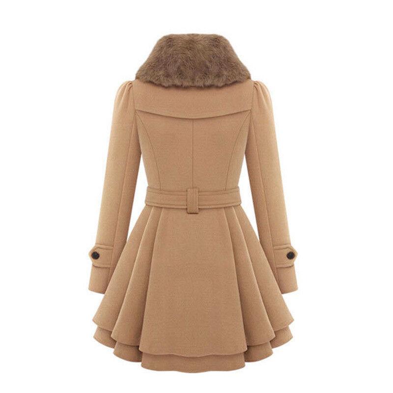 Womens Winter Office Pea Coat Trench Jacket Long Blazer Coats Outwear Plus Size 10