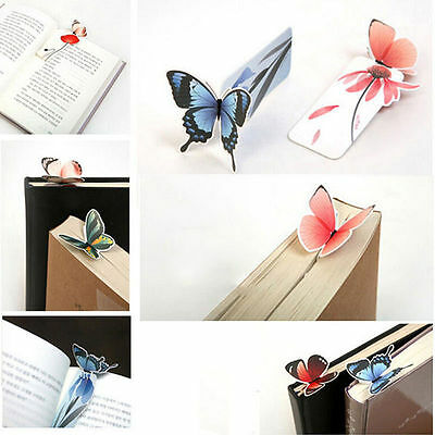 4pc Cute Butterfly On Flower Shape Exquisite Bookmarks Book Markers Readers Gift 2