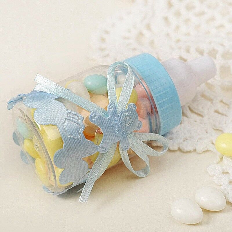 24X Fillable Bottles Candy Box Baby Shower Baptism Party Christening UK 9