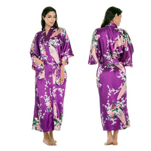 DAMEN SEIDE Satin Lange Kimono Robe Hochzeit Morgenmantel ...