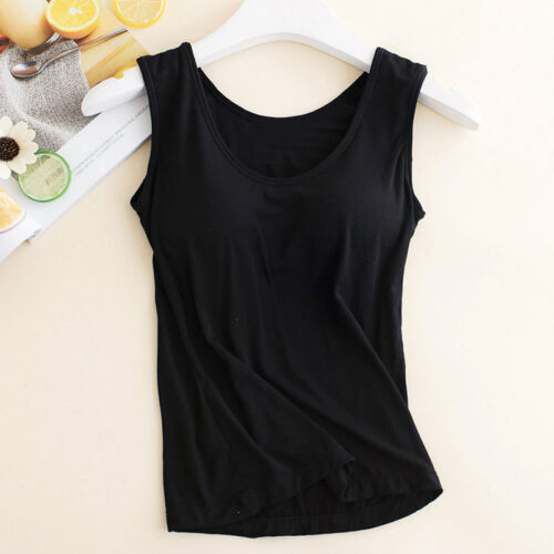 Women Ladies Camisole With Built In Shelf Bra Slim Sleeveless Tank Top Vest UK 9