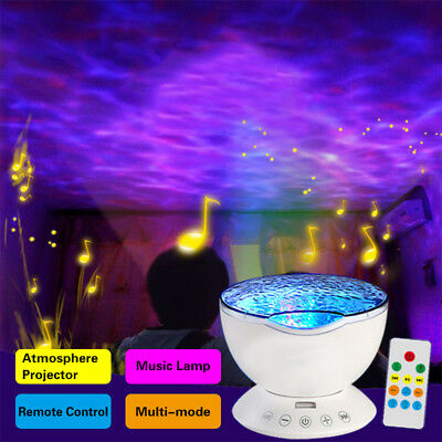 Relaxing Ocean Wave Music LED Night Light Projector Remote Lamp Baby Sleep Gift 5