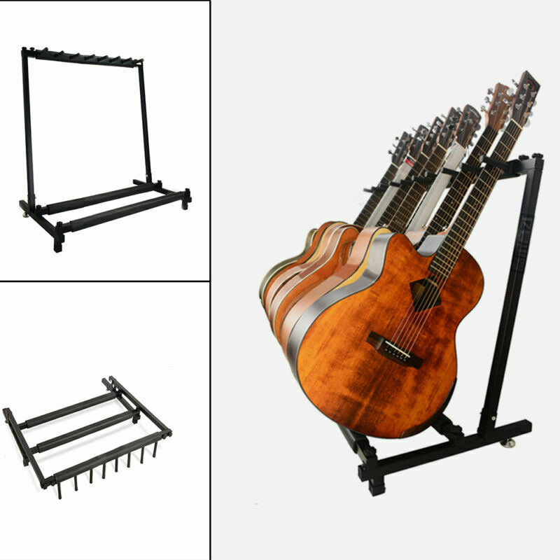 5 7 Way Multi Guitar Stand Foldable Acoustic Electric Electric Bass Guitar Rack 5
