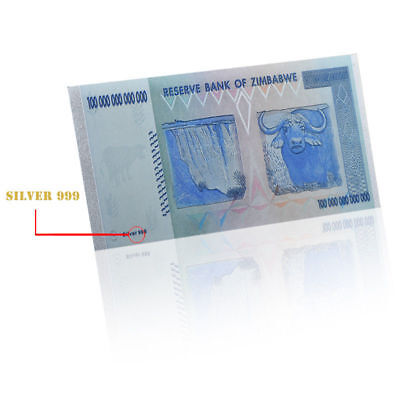 Zimbabwe 100 Trillion Silver Foil Banknote Coloured 2