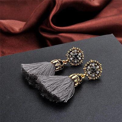 Women Thread Long Tassel Earrings Rhinestone Drop Statement Fringe Earrings 11