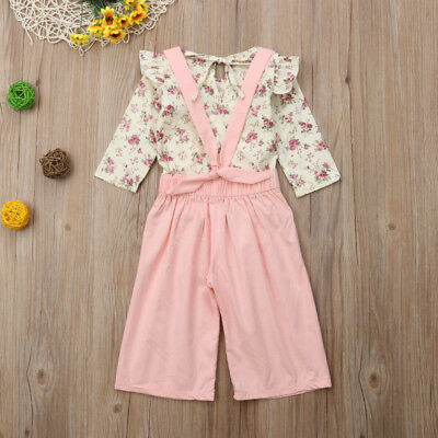 2PCS Toddler Kids Baby Girl Winter Clothes Floral Tops+Pants Overall Outfits AU 12