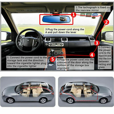 4.3'' HD Dual Lens Car DVR Dash Cam Front and Rear Mirror Camera Video Recorder 9