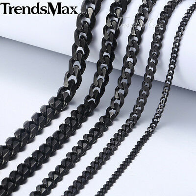 Curb Cuban Necklace Bracelet for Mens Chain 3/5/7/9/11mm Black Stainless Steel 2
