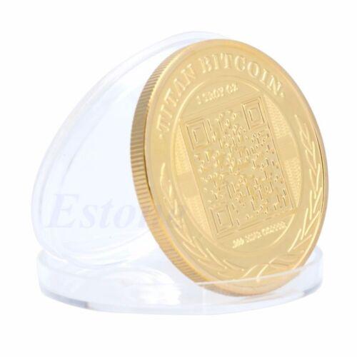 Gold Plated Titan Bitcoin Commemorative Coin BTC Collectible Collection Physica 10