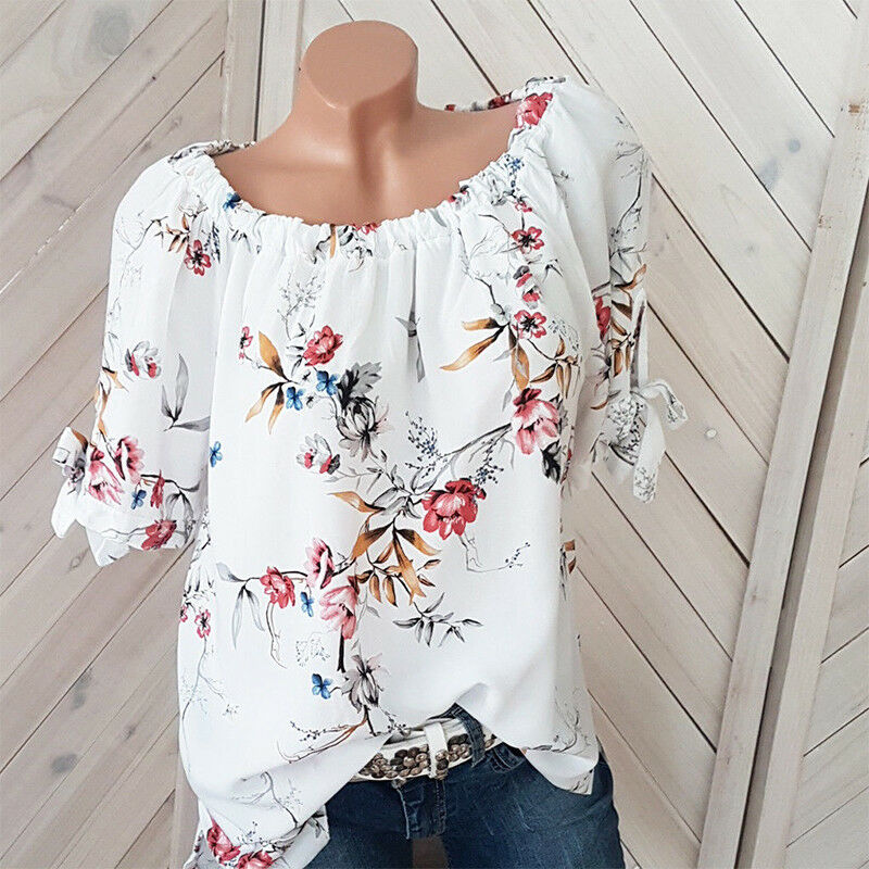 Plus Size Womens Floral Off Shoulder Blouse Ladies Casual Loose Tunic Tops 8-22 2