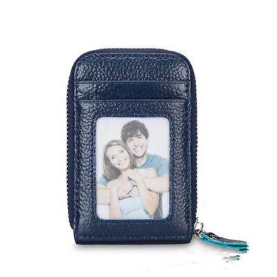 Mini Men Wallet Genuine Leather Credit Card Holder RFID Blocking Zipper Thin  AU 8