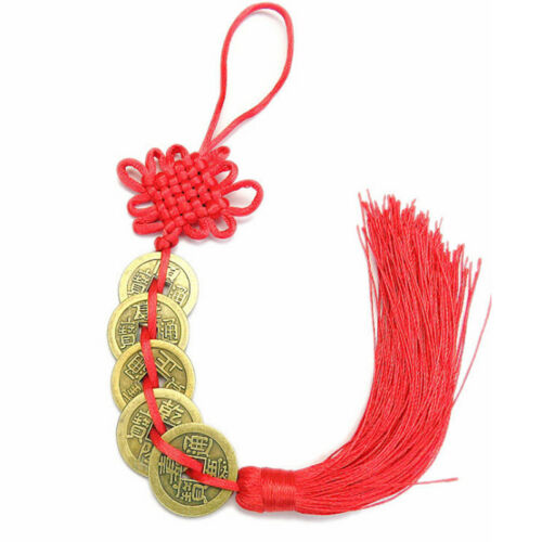Chinese Feng Shui Protection Lucky Fortune Charm Red Tassel String Tied Coins LH 7