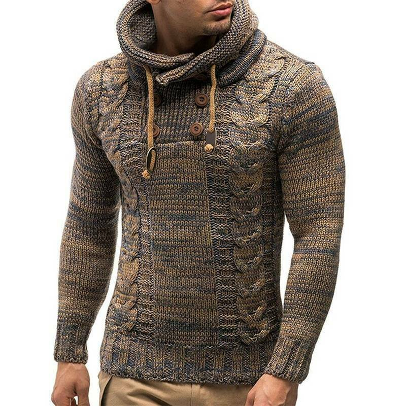 Mens Warm Knitted Hooded Long Sleeve Jumper Pullover Casual Sweater Winter Coat 6