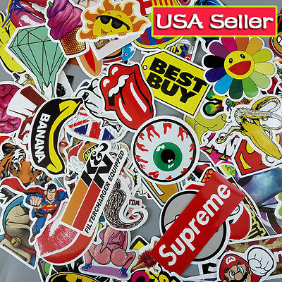 Lot 100 Random Vinyl Laptop Skateboard Stickers bomb Luggage Decals Dope Sticker 2