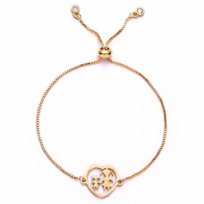 Women Gold Stainless Steel Love Heart Chain Cuff Bracelet Bangle Jewelry Gifts 9