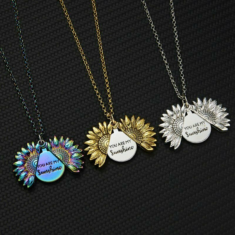 Sunflower You are my sunshine Open Locket Colorful Pendant Chain Necklace Gift 4