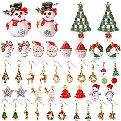 Fashion Women Christmas Earrings Enamel Crystal Drop Dangle Ear Stud Ear Hook 4