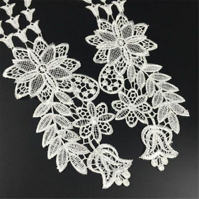 1 Pair DIY Embroidery  Lace Applique Sewing Wedding Dress Trim Craft Flora Patch 11
