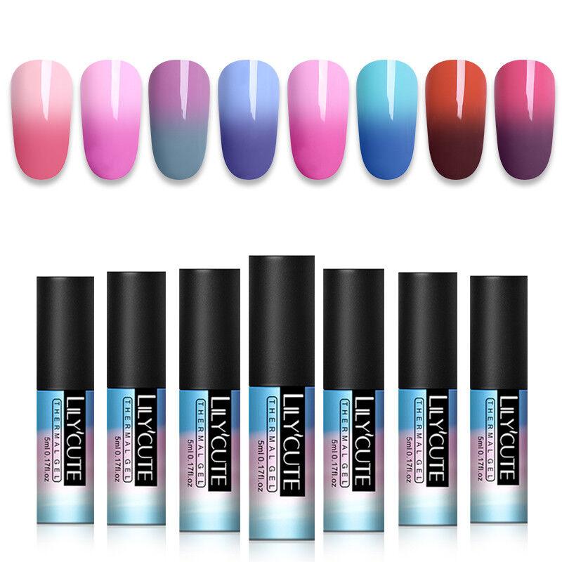 5ml LILYCUTE Nail Art Vernis à Ongles Semi Permanent Gel UV Thermal Gel Polish 6