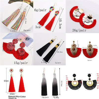 Fashion Women Bohemian Long Tassel Fringe Boho Ear Stud Dangle Earrings Jewelry 5
