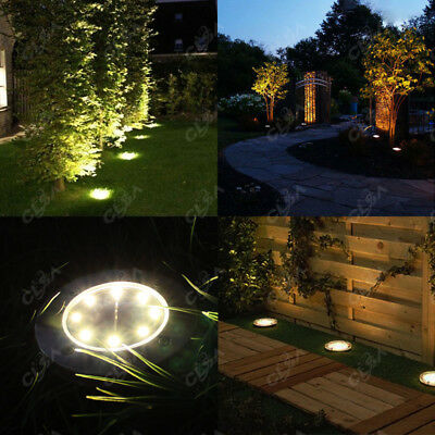 12x Solar Powered LED Buried Inground Recessed Light Garden Outdoor Deck Path
