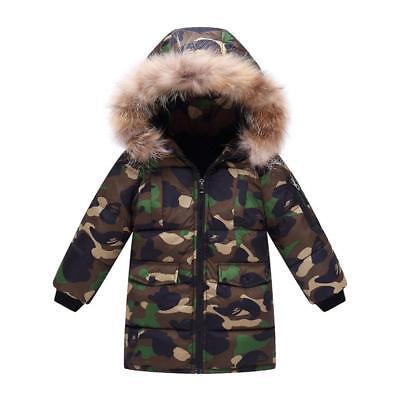 Boys Kids Camouflage Warm Winter Cotton Padded Long Parka Jacket Fur Hooded Coat
