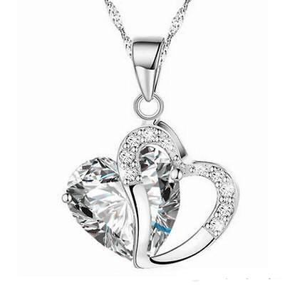 Fashion Women Heart Crystal Rhinestone Silver Chain Pendant Necklace Jewelry Hot 12