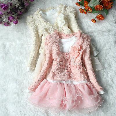 2 Pz Bambine Cappotto + Maglione Vestito Set Tutù Pagetto Casual Outfit 3