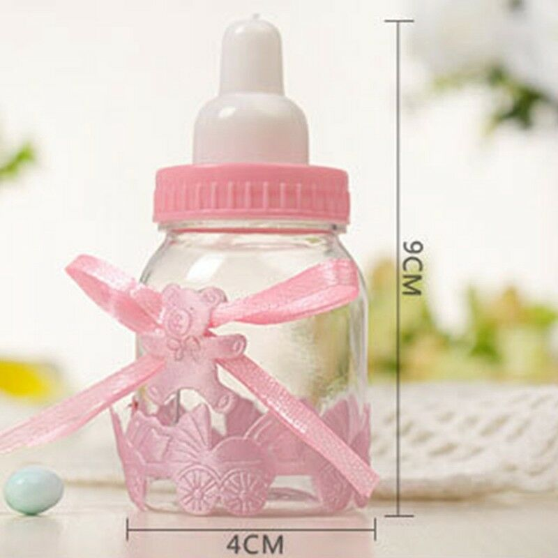 24X Fillable Bottles Candy Box Baby Shower Baptism Party Christening UK 10
