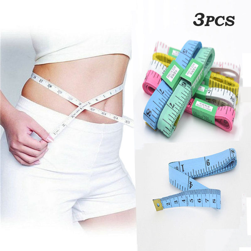 3Pcs Body Measuring Ruler Sewing Cloth Tailor Tape Measure Soft Flat Long 150cm