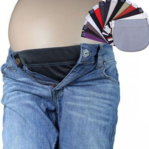 2PCS Maternity Pregnancy Waistband Belt Adjustable Jean Waist Pants Extender AU 9