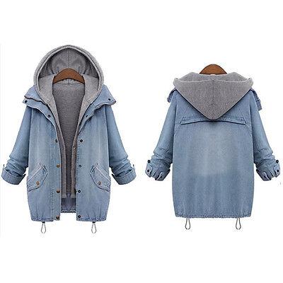 damen jacke mantel denim trench coat jeansjacke blazer. Black Bedroom Furniture Sets. Home Design Ideas