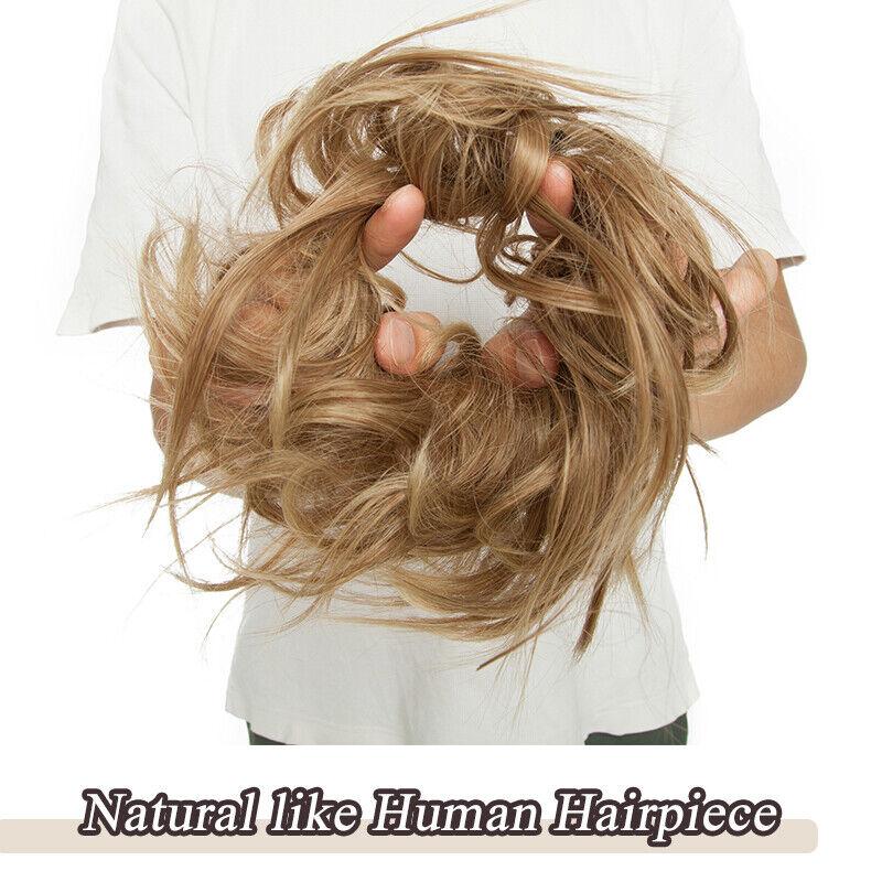100% REAL Messy Bun Scrunchie Hair Extension Ponytail As Human Hair Piece Blonde 3