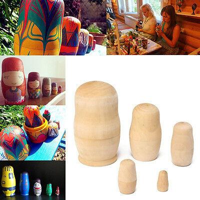 5pcs DIY Unpainted Blank Wooden Embryo Russian Nesting Dolls Matryoshka Toy Gift 5