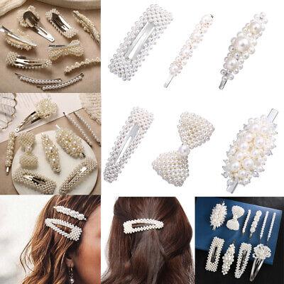 Fashion Gold Silver Pearl Metal Hair Clip Clamps Hairpins Barrette Slide Clip 2