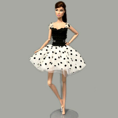 "Fashion Black White Tutu Dress For 1/6 Doll Clothes Party Gown For 11.5"" Doll 3"