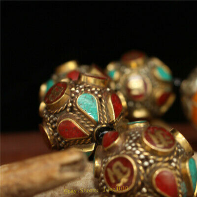 """4.72"""" Chinese Exquisite pure copper Turquoise Beeswax Handmade beads Bracelet 2"""