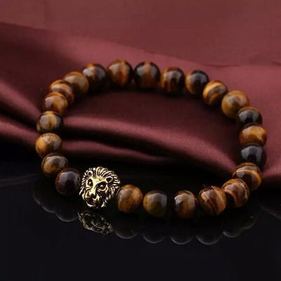 Men Fashion Black Lava Stone Gold&Silver Lion Beaded Cuff Charm Bangle Bracelet 8