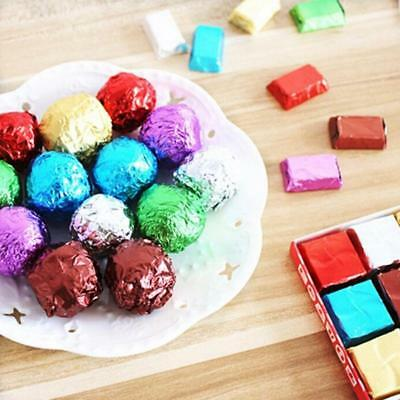 100pcs Square Aluminum Foil Wrappers biscuits Package Candy Chocolate Lollipops