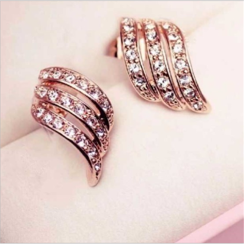 925Silver/Rose Gold Angel Wings White Sapphire-Studded Personality Stud Earrings 5