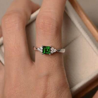 Elegant Women's Wedding Set Rings 925 Silver Princess Cut Emerald Ring Size6-10 3
