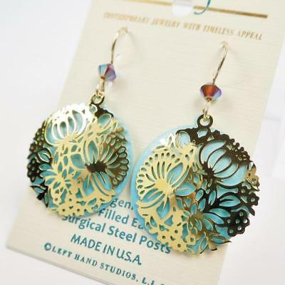 Adajio Earrings Shiny Gold Plated Floral Filigree on Blue Disc Handmade USA 7911 2