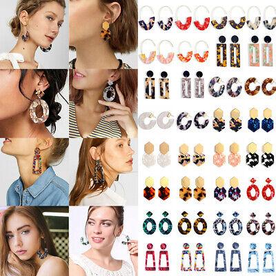 HOT Acrylic Statement Tortoise Shell Earrings Fashion Hoop Resin Dangle Earrings 9