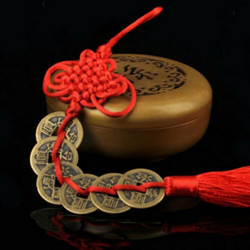 Chinese Feng Shui Protection Lucky Fortune Charm Red Tassel String Tied Coins LH 3