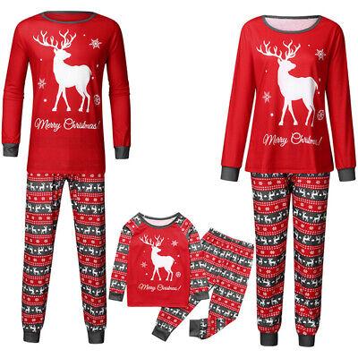Family Matching Christmas Pyjamas Snow Deer Print Nightwear Pajamas PJs Sets NEW 2