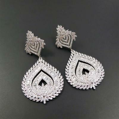 Shiny Silver Tone Sparkling CZ Cubic Zirconia Large Teardrop Chandelier Earrings 3