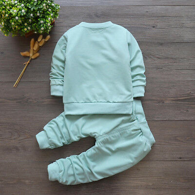 baby boys girls outfits tracksuit pullover top+pants Kids boy clothes set  bear 4