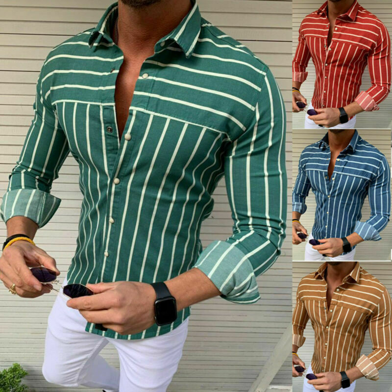 Mens Slim Fit Formal Dress Shirts Long Sleeve Stylish Muscle Tops Blouse T-shirt 2