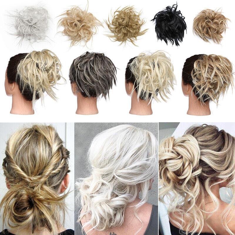 100% REAL Messy Bun Scrunchie Hair Extension Ponytail As Human Hair Piece Blonde 9