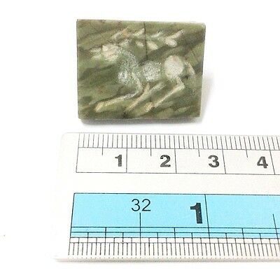 Old Near Eastern Intaglio Animal Carving Jade Stone Stamp Collectible Green 9